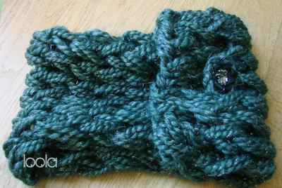 scaldacollo in lana verdone e filamenti lurex