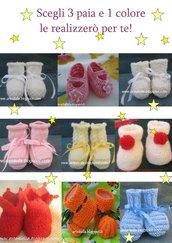 scarpine neonato 3 paia, scegli 1 colore e 3 modelli su 9!