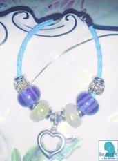 Bracciali handmade di perle foro largo dipinte a mano con strass e perle di vetro