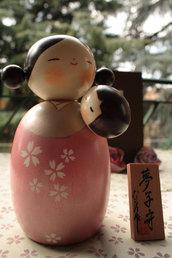 Bambola giapponese - Kokeshi Mamma con bambino- Yumekomori