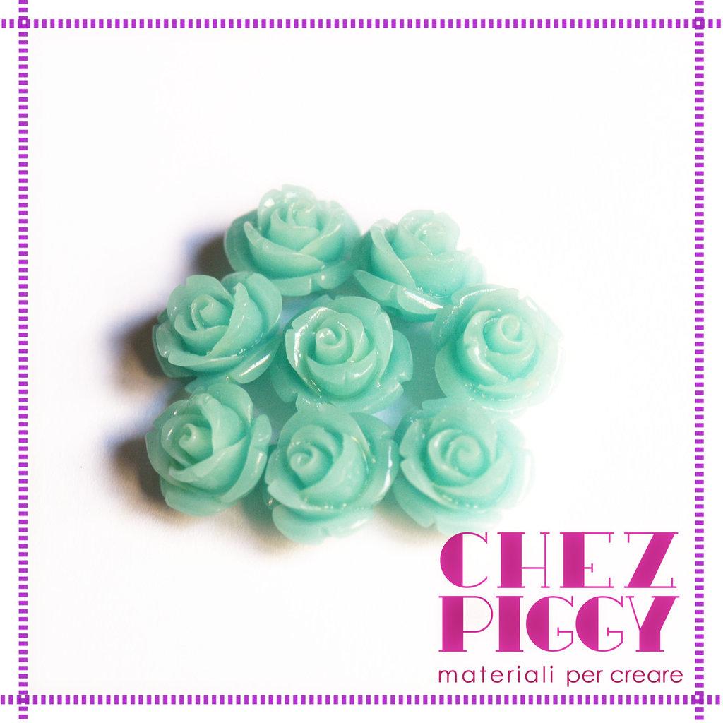 1 x perla a forma di rosa in resina - CELESTE MARE 12 mm