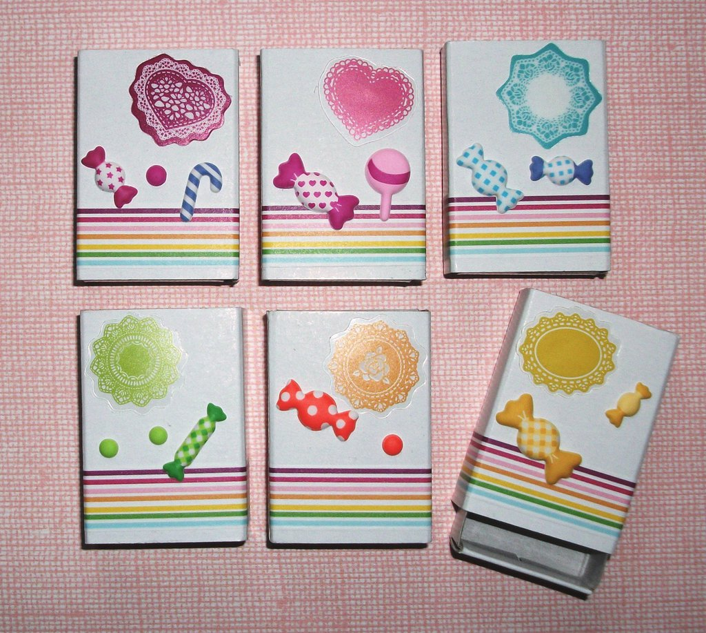 Scatoline decorate per regali - Packaging in Scrap - *Rainbow Candy* Lotto (36pz)