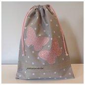 Sacchetto asilo in cotone tinta naturale a pois bianchi con farfalle rosa