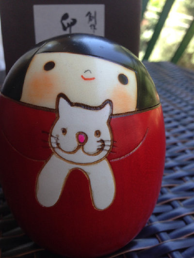 Bambola giapponese - Kokeshi,Sally e il Gatto