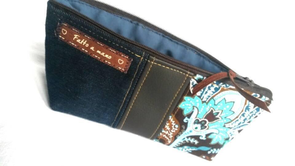 Astuccio Porta Penne O Portaocchiali Blu Con Inserti Jeans