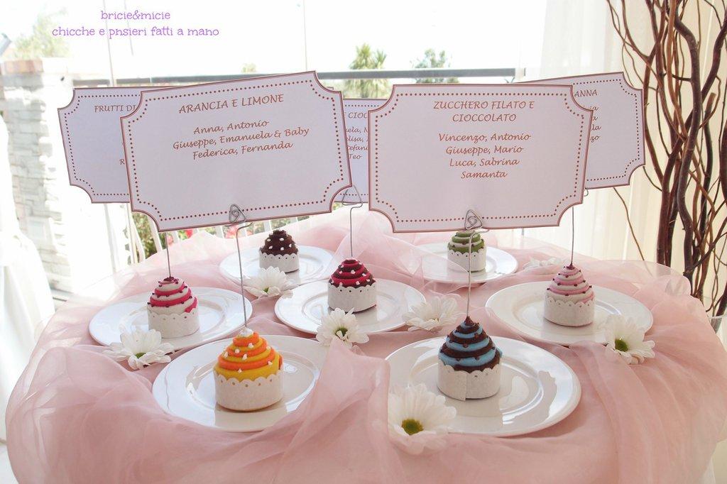 Cupcake in feltro,  Bomboniera, Segnaposto, portafoto per matrimonio, prima comunione, laurea, battesimo