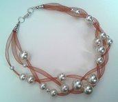 Collana leggerezza rosa antico con perle