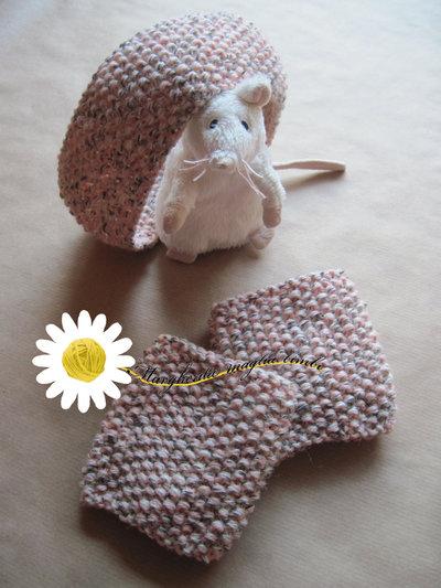 Coordinato fascia e scaldamuscoli per bambina fatti a mano in pura lana