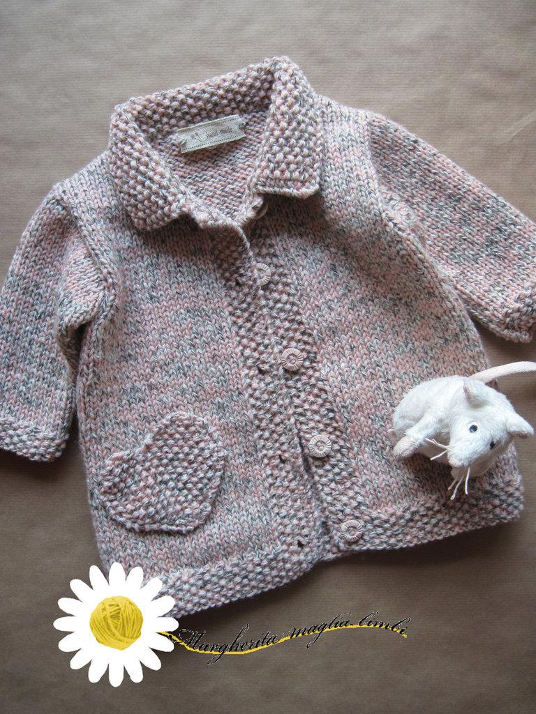 Cappottino bambina in pura lana melange fatto a mano con i ferri
