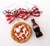 Orecchini in Fimo Pizza e Coca Cola
