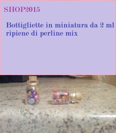 bottiglietta in miniatura in vetro 2 ml ripiena di perline mix con tappo in sughero