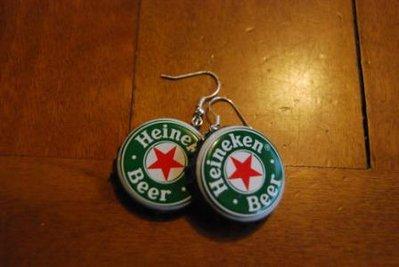 Orecchini tappi birra Heineken