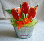Secchiello di Tulipani arancione all'uncinetto