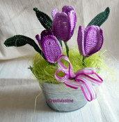 Secchiello di Tulipani viola all'uncinetto