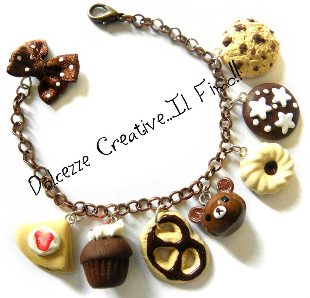 Bracciale Rilakkuma Orso, idea regalo, cookie, biscotti, cioccolato, nutella, pan di stelle, cupcake, crepes, fregole, miniature