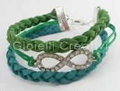 Bracciale infinity braccialetto multifilo charm infinito Strass