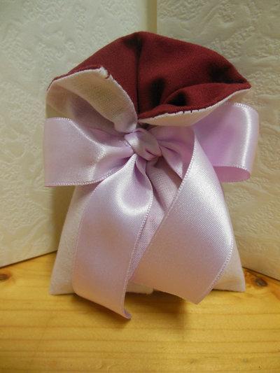 sacchetto di cotone rosa e bordeaux