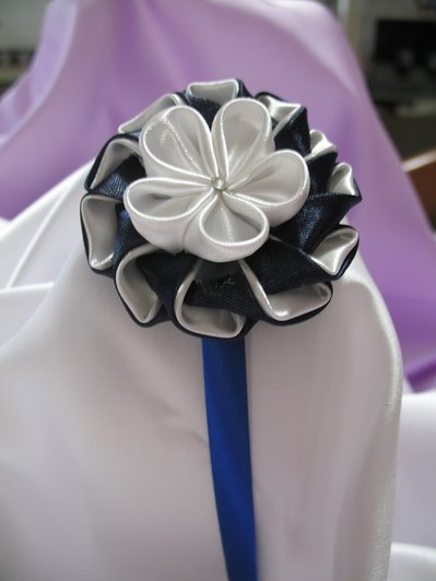Cerchietto in raso decoro Kanzashi Linea Blue Chic