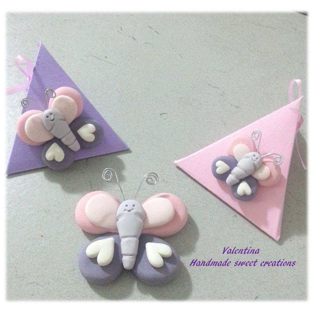 Bomboniera Farfalla rosa viola- nascita battesimo comunione cresima