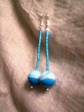 orecchini con pietra blu-azzurro