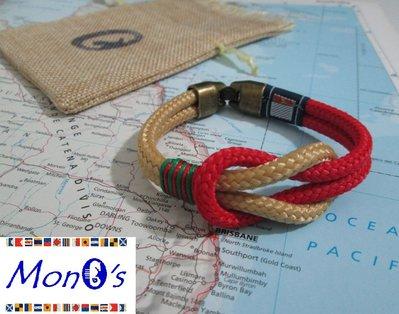 Bracciale uomo navy corda beige/rosso