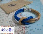 Bracciale uomo navy corda beige/azzurro
