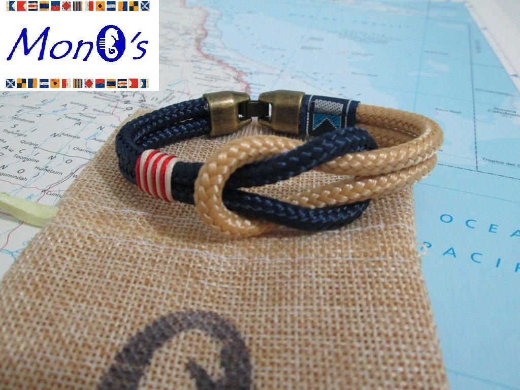 Bracciale uomo navy corda - blu/beige