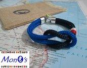 Bracciale uomo navy corda - blu/azzurro