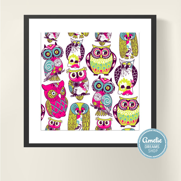 gufi colorati portafortuna stampati per te