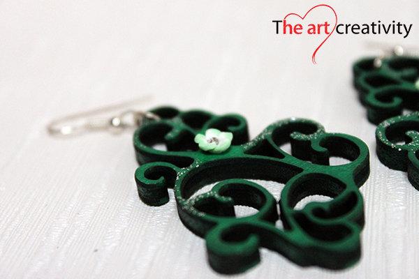 """Orecchini """"Morbido verde smeraldo con fiore_medium"""""""