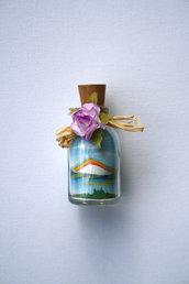 Bottiglie con paesaggi - bomboniera- in sabbia mod. Piccolo con Arcobaleno