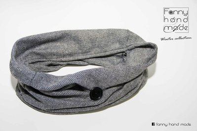 Sciarpa tubolare in tessuto di lana grigio a spina di pesce