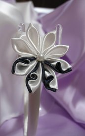 Cerchietto in raso bianco decoro fiore e foglie kanzashi Linea Blue Chic