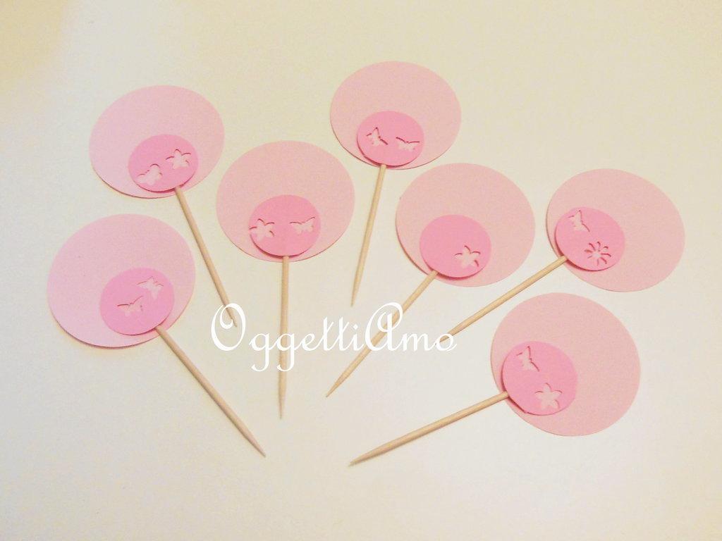 40 cupcake topper 'Fiori' nei colori della primavera: decorazioni per il compleanno o per un'occasione speciale!