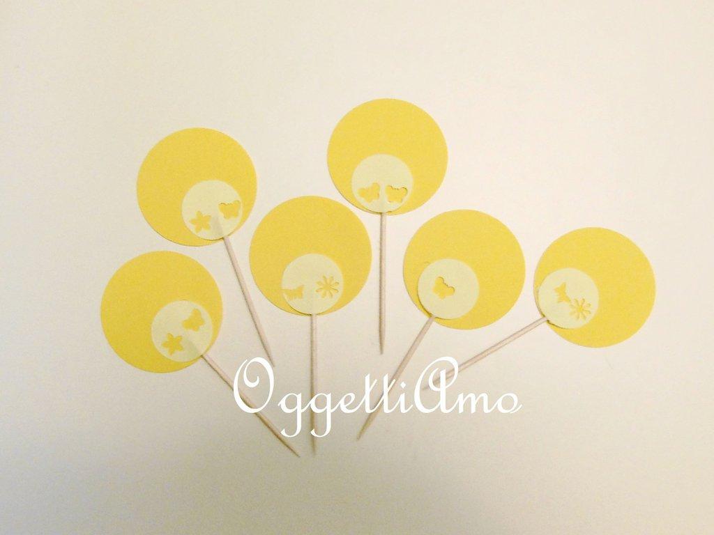 40 cupcake toppers gialli: un set allegro per colorare e decorare la vostra tavola!