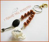 """Portachiavi  """"Caffè al bar"""" perle arancio tazza chicco di caffè cucchiaino bar barista colazione idea regalo fimo cernit kawaii"""