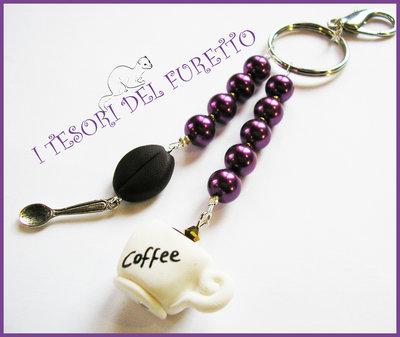 "Portachiavi ""Caffè al bar""  Viola tazza chicco di caffè cucchiaino bar barista colazione fimo cernit kawaii"