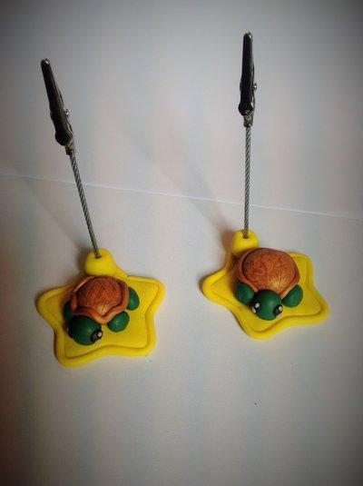 Portabigliettini o portafoto in cernit a forma di tartaruga