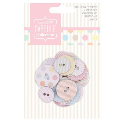 Chipboard Buttons - Spots & Stripes Pastels