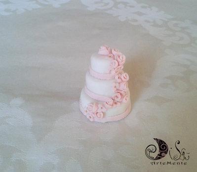 Bomboniera matrimonio wedding cake - mini cake segnaposto cascata di rose