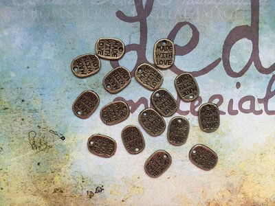 10 Charms Targhetta Made with love bronzo