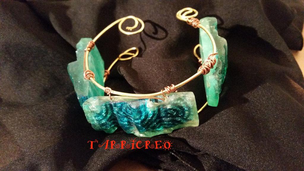 BRACCIALE DIANA - Wire/ottone/acquamarina