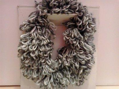 Scaldacollo in lana grigia chiara e scura