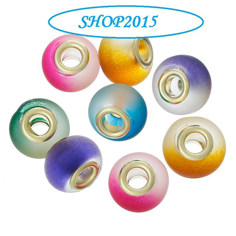 5 mix  perle foro largo lampwork  in vetro glassato 15x11 mm