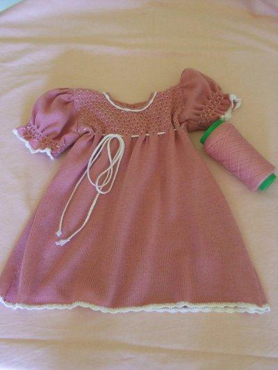 vestito bimba ricamato lana maglia
