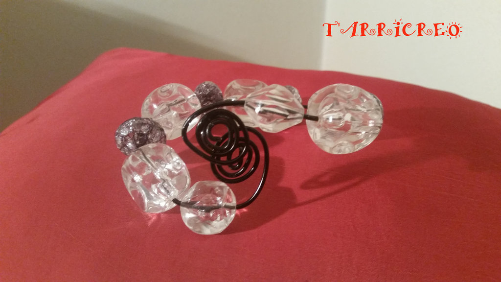 Bracciale ALETHEIA - wire in metallo nero e pietre dure trasparenti