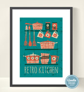 Illustrazione vintage cucina retro