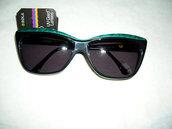 Vintage 80's occhiali donna neri - black/green marble woman - Sunglasses brand Allison