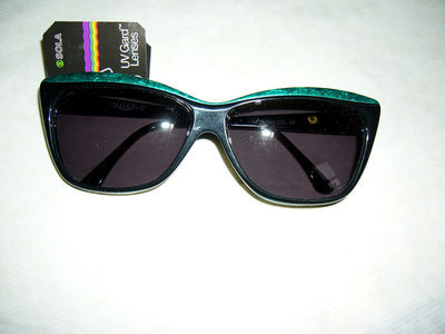 Vintage 80's occhiali donna neri - black/green marble woman - Sunglasses brand Allison