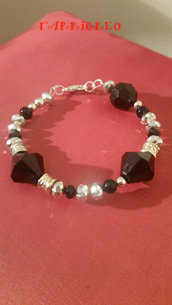 BRACCIALE ERMES - metallo morbido/pietre nere/perline